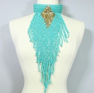 CHOKER STATEMENT NECKLACE BEADED TRIBAL DRAG QUEEN